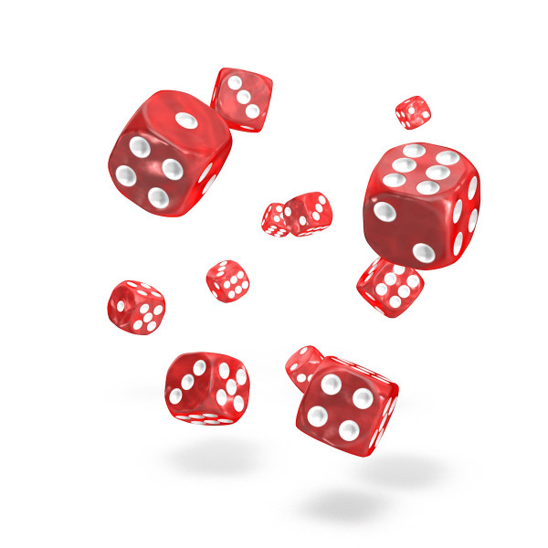 Oakie Doakie Dice - D6 Marble Red 12mm Set of 36 (ODD400001)