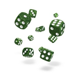 Oakie Doakie Dice - D6 Marble Green 12mm Set of 36 (ODD400002)