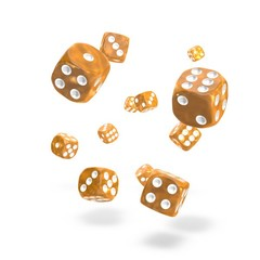 Oakie Doakie Dice - D6 Marble Orange 12mm Set of 36 (ODD400008)