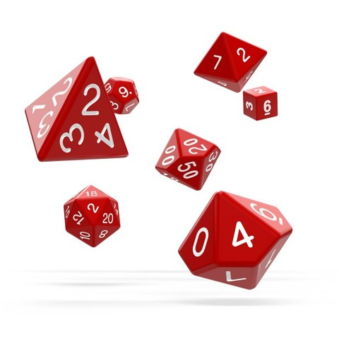 Oakie Doakie Dice - RPG-Set Solid Red