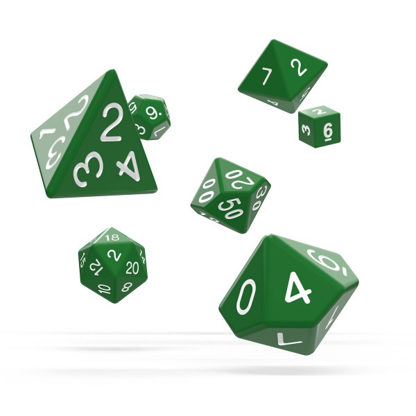 Oakie Doakie Dice - RPG-Set Solid Green