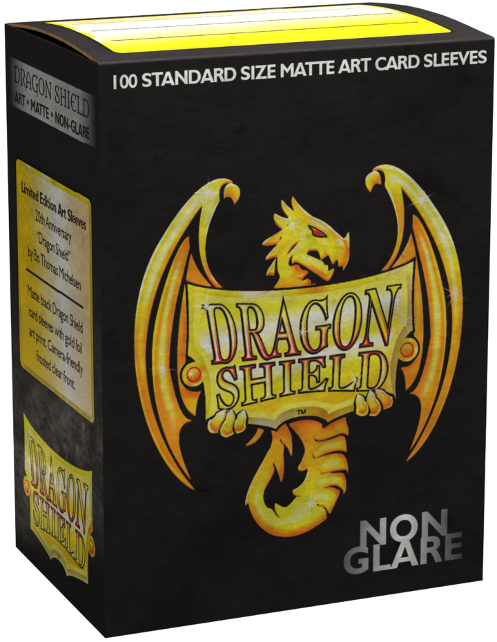 Dragon Shield Standard Sleeves 20th Anniversary Matte Black Non-Glare Iconic Art 100ct