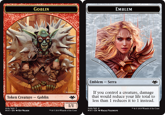 Goblin (010) // Emblem - Serra the Benevolent (020) Double-sided Token
