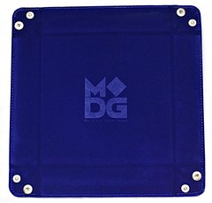 Metallic Dice Games Blue Velvet Dice Tray with Leather Backing