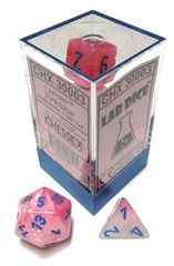 7-die Polyhedral Set - Lustrous Pink with Blue - CHX30003 (Black Light Reactive!)