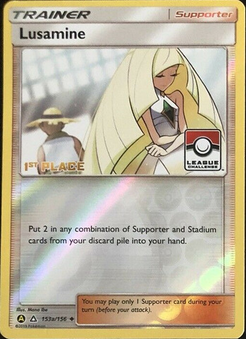 Pokémon League Promo LUSAMINE ALTERNATE ART 1ST PLACE 153a//156