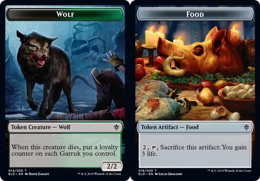 Token - Wolf // Food (018) - Foil