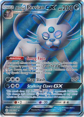 Alolan Persian GX - 219/236 - Full Art Ultra Rare