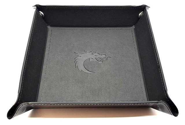 Old School RPG Dice Rolling Tray: Dragon Forged - Square - Black w/ Black Back