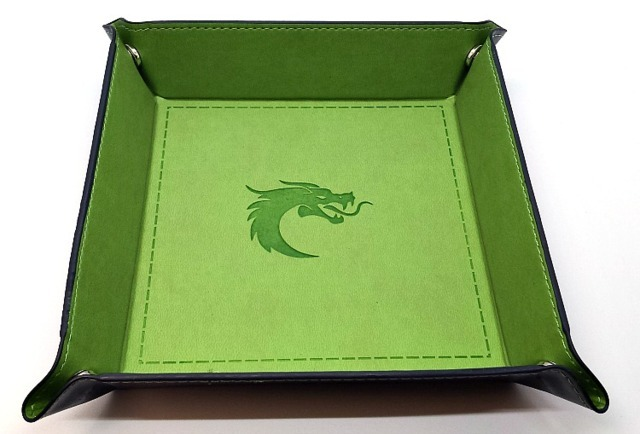 Old School RPG Dice Rolling Tray: Dragon Forged - Square - Green w/ Blue Back