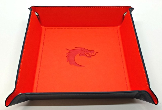 Old School RPG Dice Rolling Tray: Dragon forged - Square - Orange w/ Blue Back