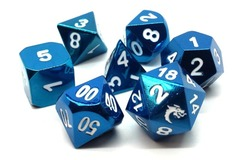 Old School RPG Metal Dice: Halfling Forged - Electric Blue