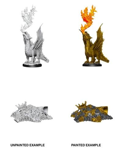 Nolzurs Marvelous Miniatures - Gold Dragon Wyrmling & Small Treasure Pile