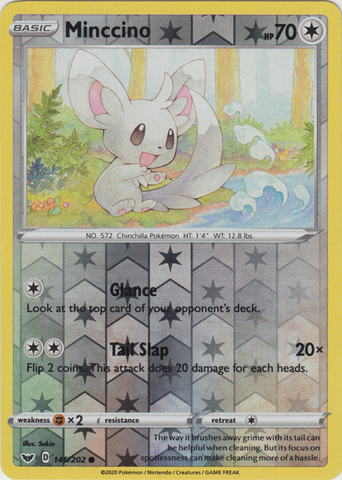 Minccino 145 202 Common Reverse Holo  Sword /& Shield Pokemon