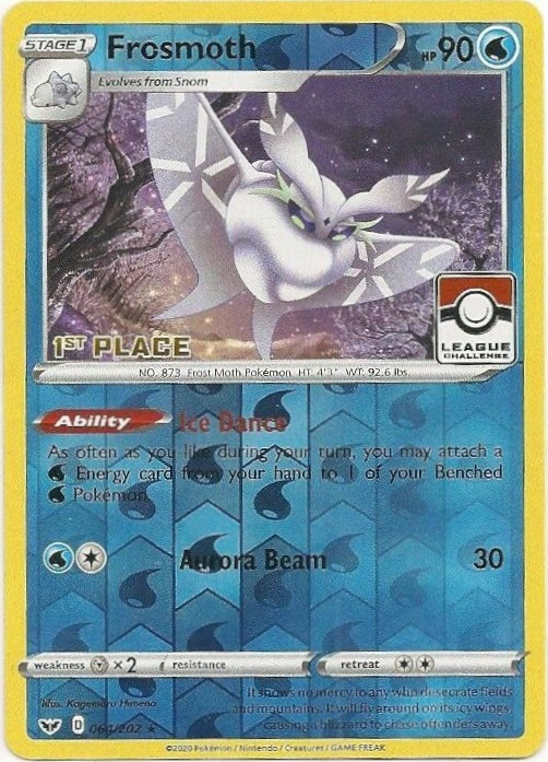 Frosmoth - 064/202 - 1st Place Reverse Holo Pokemon League Promo