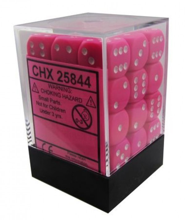 36 12mm Pink w/White Opaque D6 Dice - CHX25844