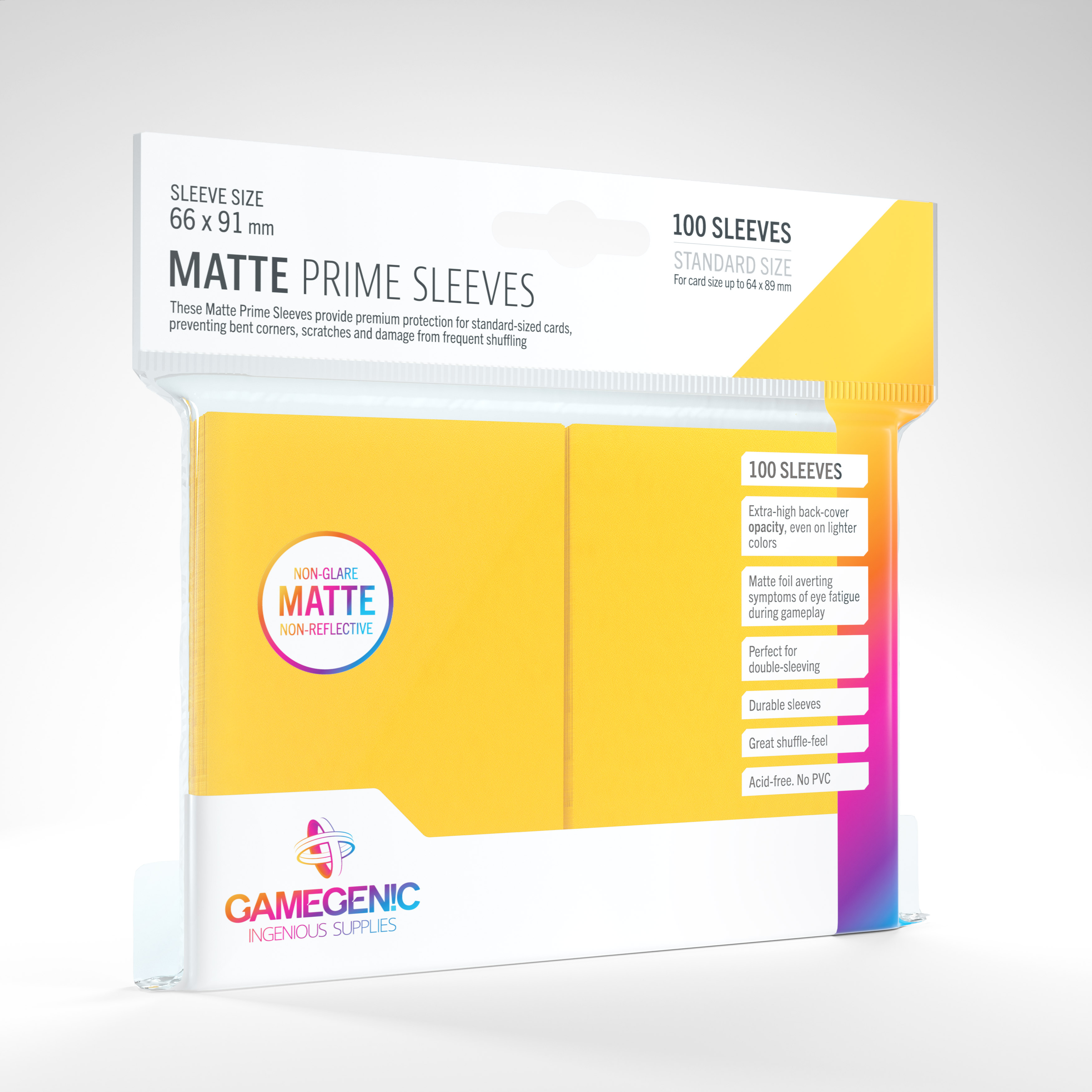 Gamegenic - Sleeves: Gamegenic Matte Prime Sleeves - Yellow (100)