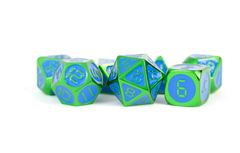 Green with Blue Enamel Digital 16mm Polyhedral Dice Set