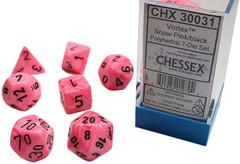7 Heavy Dice Set - Lab Dice 2 - Snow Pink Vortex Dice with Black - CHX30031