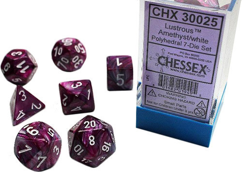 7 Heavy Dice Set - Lab Dice 2 - Lustrous Amethyst with White - CHX30025
