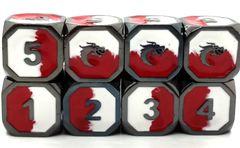 Old School RPG Dice Set: Dragon Forged - Red & White w/ Black Nickel