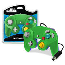 Old Skool GameCube / Wii Compatible Controller - GREEN/BLUE