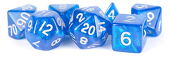 16mm Stardust Acrylic Poly Dice Set: Blue with Silver Numbers
