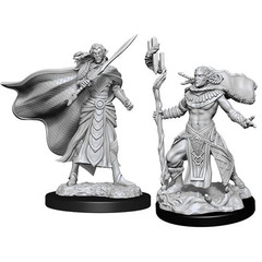 Magic: The Gathering Unpainted Miniatures: Elf Fighter & Cleric