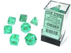Borealis Polyhedral - Light Green with Gold  7-dice - CHX27575