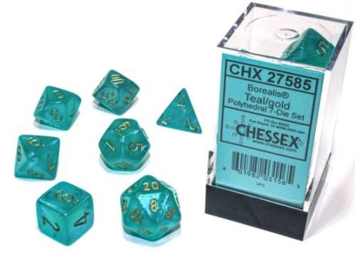 Borealis Polyhedral - Teal with Gold  7-dice - CHX27585