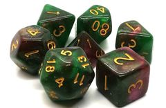 Old School 7 Piece DnD RPG Dice Set: Galaxy - Path of Roses