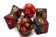Old School 7 Piece DnD RPG Dice Set: Galaxy - Red & Black