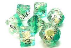 Old School 7 Piece DnD RPG Dice Set: Infused - Beach Party - Aqua