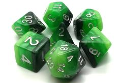 Old School 7 Piece DnD RPG Dice Set: Gradients - Treetop Canopy