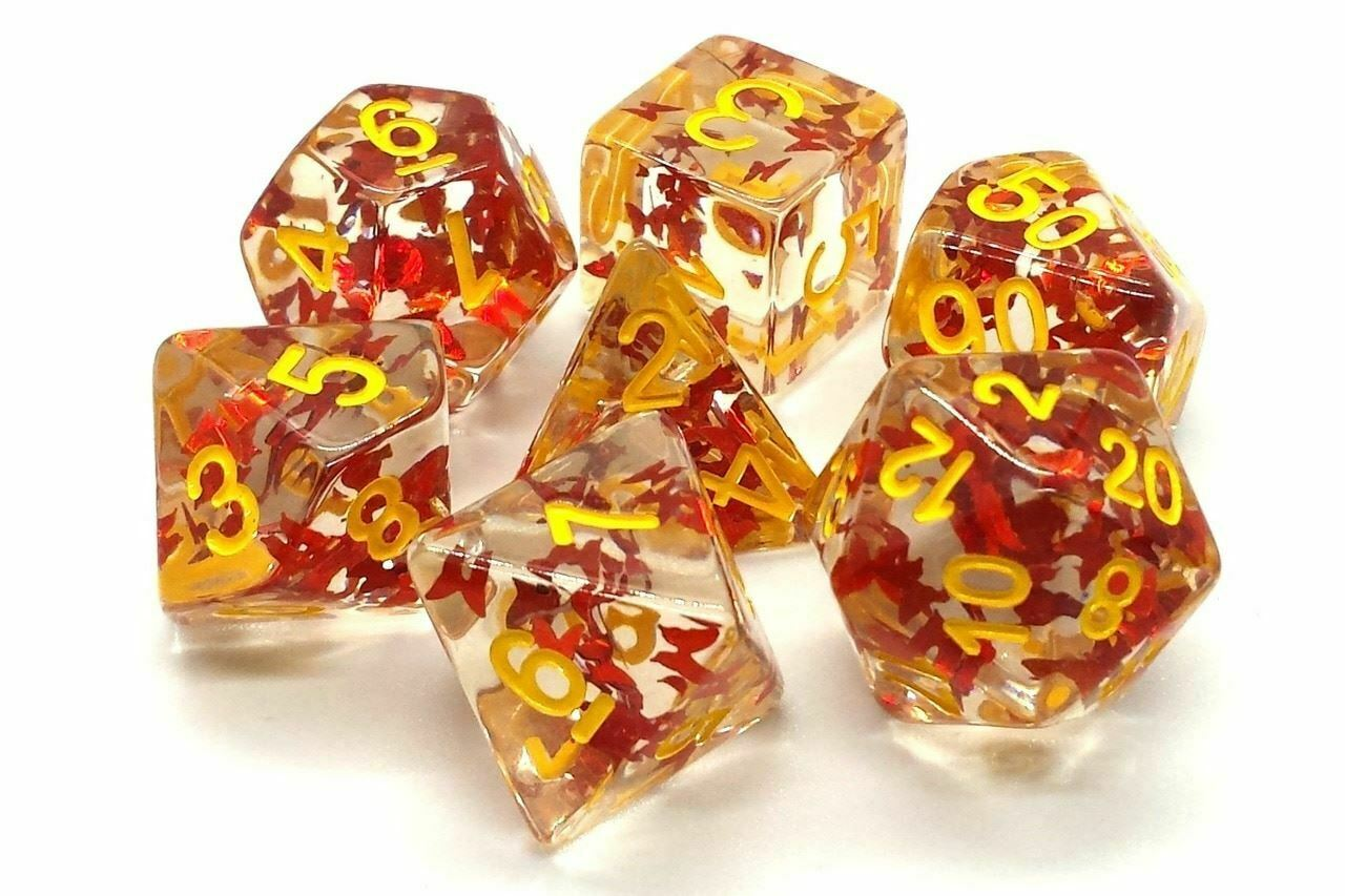 Old School 7 Piece DnD RPG Dice Set: Infused - Orange Butterfly w/ Yellow