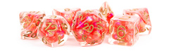 7-Die Set 16mm Resin Pearl:  Red with Copper Numbers
