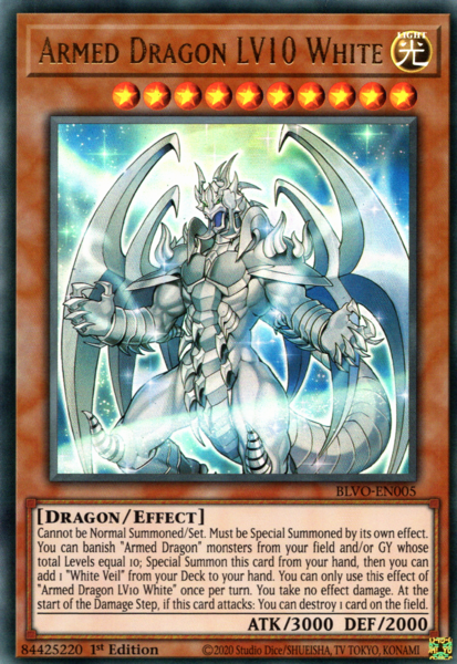 Armed Dragon LV10 White - BLVO-EN005 - Ultra Rare - 1st Edition