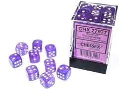 36 12mm Purple/White Borealis D6 Dice Set - CHX27977