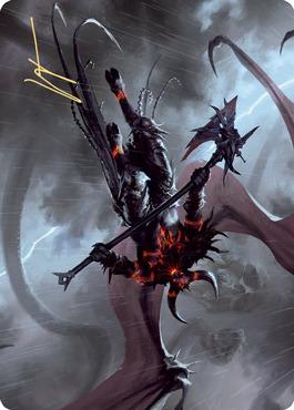 Burning-Rune Demon Art Card - Gold-Stamped Signature
