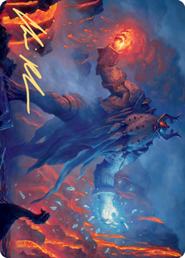 Aegar, the Freezing Flame Art Card - Gold-Stamped Signature