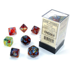7 Primary w/Blue Nebula Luminary Polyhedral Dice Set - CHX27559