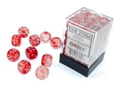 36Ct Nebula D6 Dice Set Red/Silver Luminary (CHX27954)