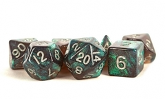 16mm Stardust Acrylic Poly Dice Set: Gray w/ Silver Numbers