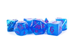 16mm Stardust Acrylic Poly Dice Set: Blue w/ Purple Numbers