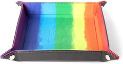 Metallic Dice Games Rainbow Watercolor Dice Tray with Leather Backing 10