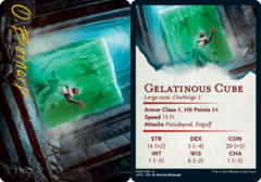 Gelatinous Cube Art Card -  Gold-Stamped Signature