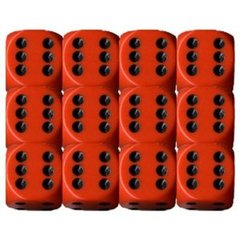 12 Orange w/black Opaque 16mm D6 Dice Block - CHX25603