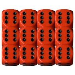 Opaque 16mm Orange w/Black D6 Block 12ct CHX25603