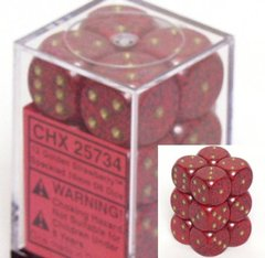 12 Golden Strawberry Speckled 16mm D6 Dice Block - CHX25734