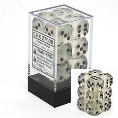 Borealis: Clear w/Black - Set of 12 16mm D6 Dice - CHX27600
